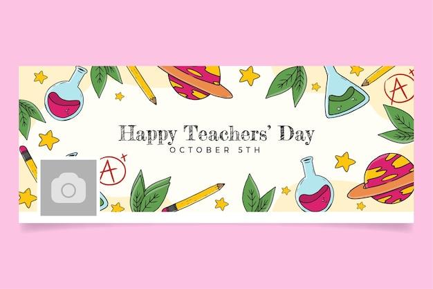 Ręcznie rysowane szablon okładki mediów społecznościowych z okazji dnia nauczyciela