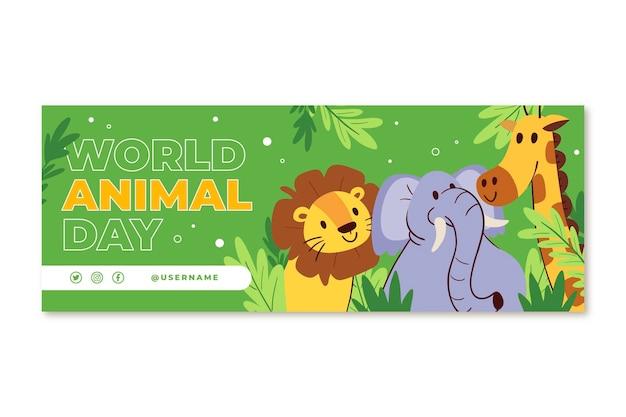 Ręcznie rysowane szablon okładki mediów społecznościowych z płaskim światowym dniem zwierząt