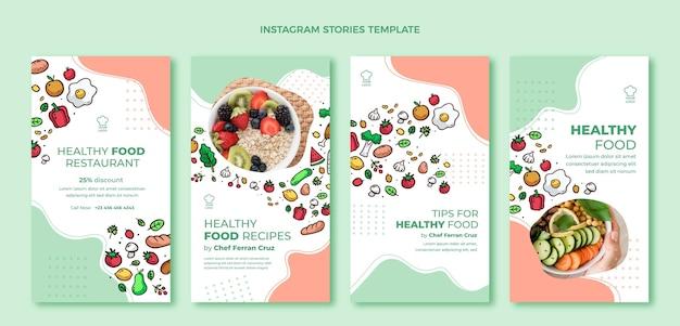 Ręcznie rysowane szablon opowieści o jedzeniu na instagramie
