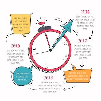 Ręcznie rysowane szablon osi czasu infographic