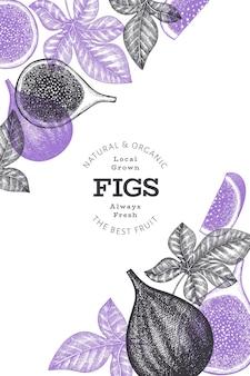 Ręcznie rysowane szablon owoce figi. ilustracja ekologicznej świeżej żywności. owoce figi retro.
