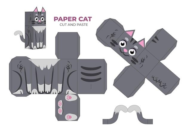 Ręcznie rysowane szablon papercraft z kotem