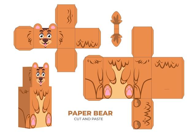 Ręcznie rysowane szablon papercraft z niedźwiedziem