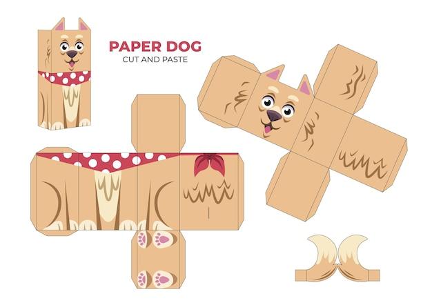 Ręcznie rysowane szablon papercraft z psem