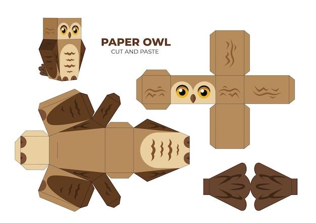 Ręcznie rysowane szablon papercraft z sową