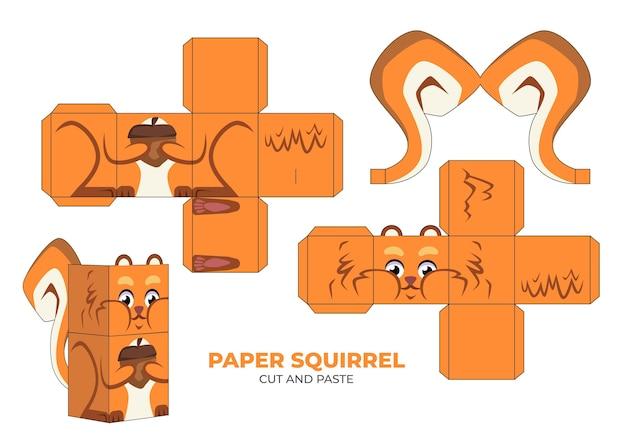 Ręcznie rysowane szablon papercraft z wiewiórką