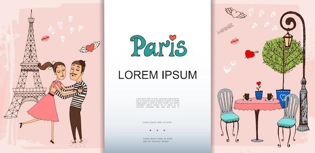 Ręcznie rysowane szablon paryża