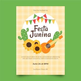 Ręcznie rysowane szablon pionowego plakatu festa junina
