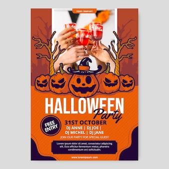 Ręcznie rysowane szablon pionowego plakatu halloween party