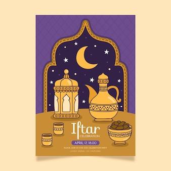 Ręcznie rysowane szablon pionowego plakatu iftar