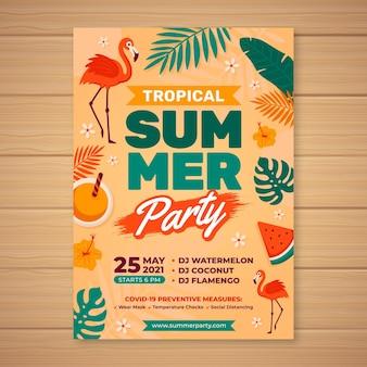 Ręcznie rysowane szablon pionowego plakatu lato party
