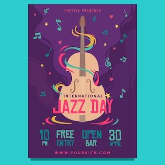 Ręcznie rysowane szablon pionowego plakatu międzynarodowego dnia jazzu