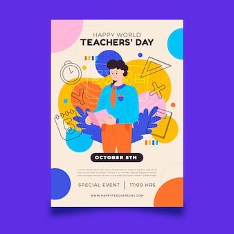 Ręcznie rysowane szablon pionowej ulotki płaski dzień nauczyciela