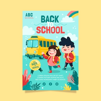 Ręcznie rysowane szablon pionowej ulotki z powrotem do szkoły