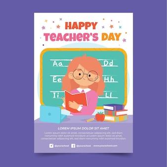 Ręcznie rysowane szablon pionowy plakat płaski dzień nauczycieli