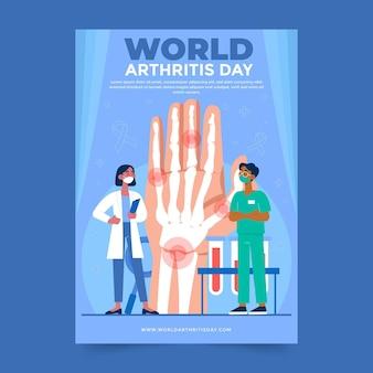 Ręcznie rysowane szablon pionowy plakat płaski światowy dzień zapalenia stawów