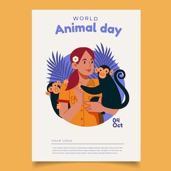 Ręcznie rysowane szablon pionowy plakat światowy dzień zwierząt