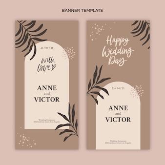 Ręcznie rysowane szablon pionowych banerów ślubnych