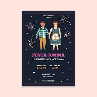 Ręcznie rysowane szablon plakat festa junina