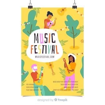 Ręcznie rysowane szablon plakat festiwal muzyczny