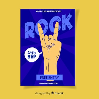 Ręcznie rysowane szablon plakat festiwal rockowy