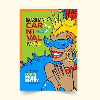Ręcznie rysowane szablon plakat karnawał brazylijski