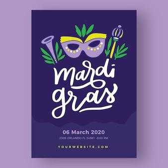 Ręcznie rysowane szablon plakat mardi gras