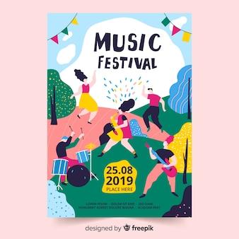 Ręcznie rysowane szablon plakat muzyczny
