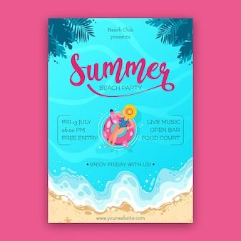 Ręcznie rysowane szablon plakat party lato