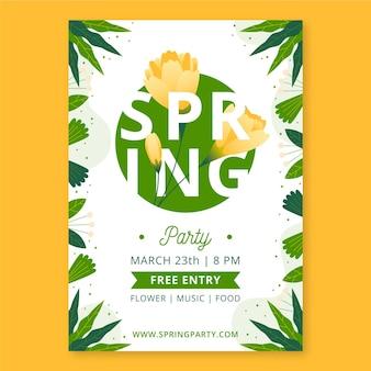 Ręcznie rysowane szablon plakat pionowy wiosna party