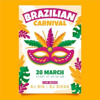 Ręcznie rysowane szablon plakatu brazylijskiego karnawału