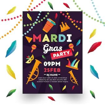 Ręcznie rysowane szablon plakatu mardi gras