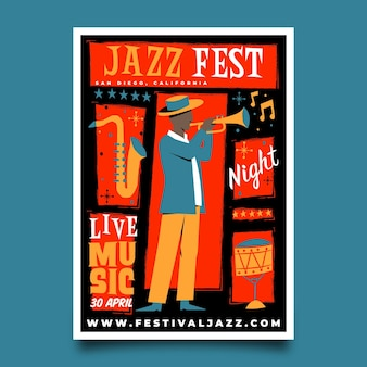 Ręcznie rysowane szablon plakatu międzynarodowego dnia jazzu