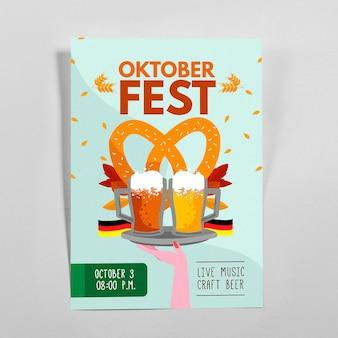 Ręcznie rysowane szablon plakatu oktoberfest