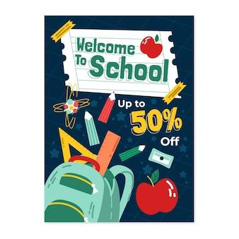 Ręcznie rysowane szablon plakatu pionowego do szkoły