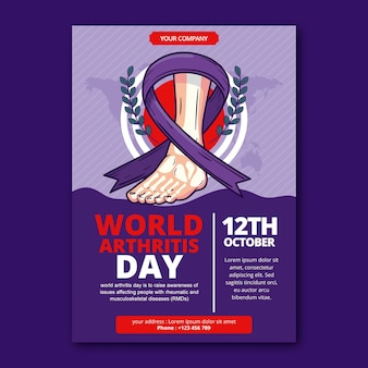 Ręcznie rysowane szablon plakatu pionowego światowego dnia zapalenia stawów