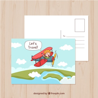 Ręcznie rysowane szablon pocztówki podróży