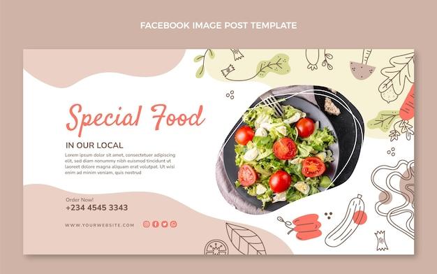 Ręcznie rysowane szablon postu na facebooku z jedzeniem