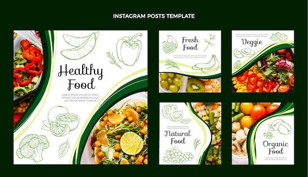 Ręcznie Rysowane Szablon Postu Na Instagramie żywności Premium Wektorów