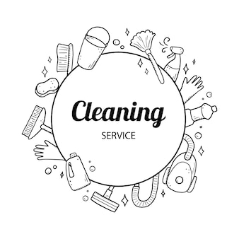 Ręcznie rysowane szablon projektu czyszczenia sprzętu, gąbki, odkurzacza, sprayu, miotły, wiadra. doodle styl szkicu.