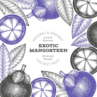 Ręcznie rysowane szablon projektu mangostanu w stylu szkicu
