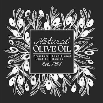 Ręcznie rysowane szablon projektu oliwek. ilustracje wektorowe oliwki na tablicy kredowej. tło oli z oliwek