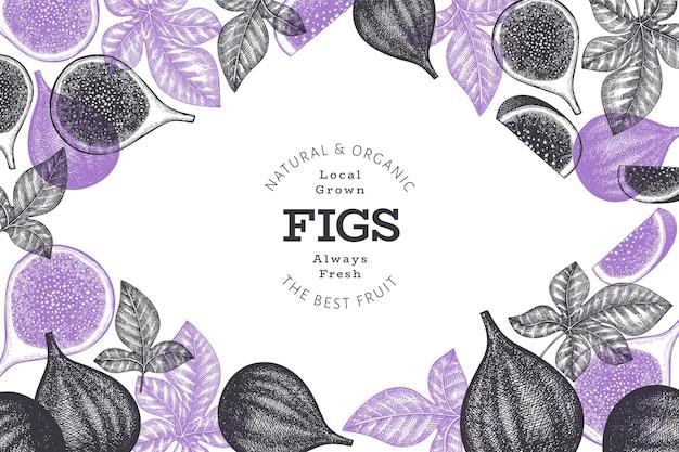 Ręcznie rysowane szablon projektu owoce figi.