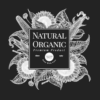 Ręcznie rysowane szablon projektu słonecznika. ilustracje wektorowe roślin gospodarskich na tablicy kredowej. vintage tło naturalne