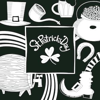 Ręcznie rysowane szablon projektu st patricks day. kapelusz leprechaun, koniczyna, kufel do piwa, beczka, ilustracje garnków złotych monet.
