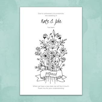 Ręcznie rysowane szablon przełożonej karty ślubu