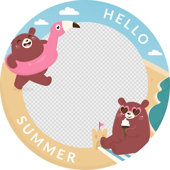 Ręcznie rysowane szablon ramki lato facebook