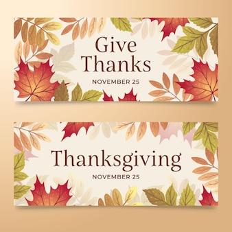 Ręcznie rysowane szablon sieci web transparent dziękczynienia