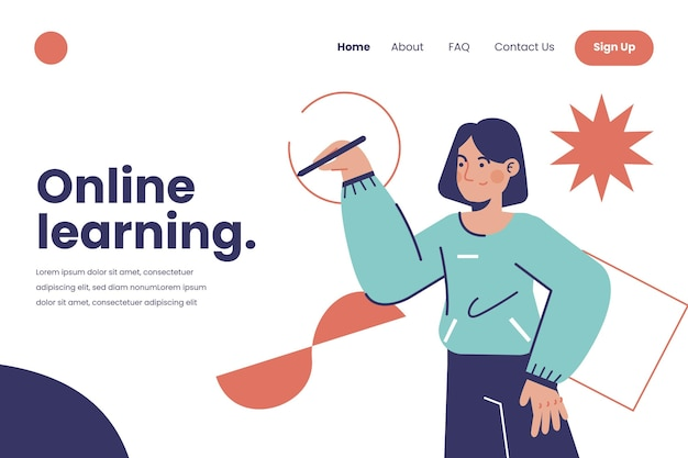 Ręcznie rysowane szablon sieci web uczenia się online