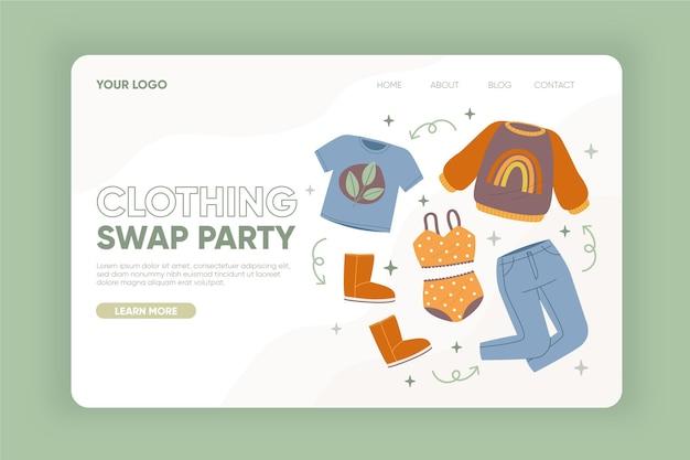 Ręcznie rysowane szablon sieci web wymiany odzieży
